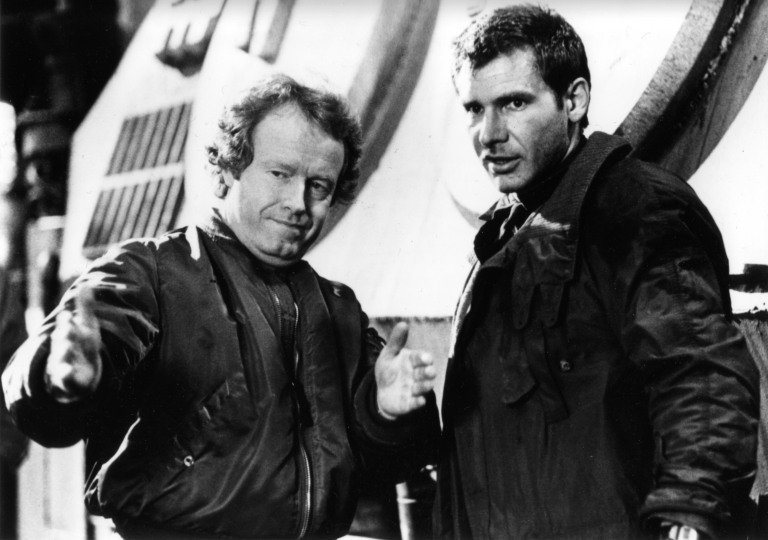 Blade Runner (1982) Director Ridley Scott and Harrison Ford on the set